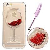 iPhone 6S Silikon Case,iPhone 6 Glitzer Hülle,Vioela Cool Kreativ 3D Wine Glass Design Fließen Flüssig Liquid Wasser Bling Schwimmend Treibsand Stern Luxus Shiny Glanz TPU Klar Gummi Handy Tasche Schutzhülle für Apple iPhone 6 6S 4.7 Zoll
