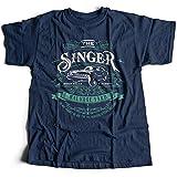 9133n Singer Salvage Auto Yard Herren T-Shirt Winchester Sam Vampire Pentagram Super Brothers Occult Impala Natural(XX-Large,Navy)