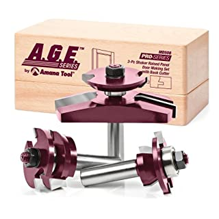 A.G.E. Series by Amana Tool MD508 Shaker Raised Panel Cabinet Door Making Carbide Tipped Router Bit Set with Back Cutter and 1/2-Inch Shank, 3-Piece