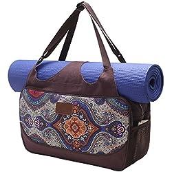 Bolsa de yoga «Vimalaa» de #DoYourYoga fabricada con lona (lienzo de algodón), con un laborioso acabado. ¡Para esterillas de yoga EXTRAGRANDES y SUPERANCHAS! estampado azul