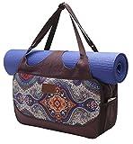 Große Yogatasche »Vimalaa« von #DoYourYoga aus Segeltuch (Baumwoll-Canvas) - aufwendig per Hand verarbeitet, für EXTRA-LANGE und EXTRA-BREITE Yogamatten! Die Yogatragetasche ( Yogabag) ist in sehr schönen Farben und ausgefallenen Designs erhältlich. Ferner eignet sich die Tasche auch für als Sporttasche / Fitnesstasche Farbe: Blaues Muster