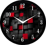#9: IT2M Round Wall Clock With Glass For Home / Bedroom / Living Room / Kitchen (Red)