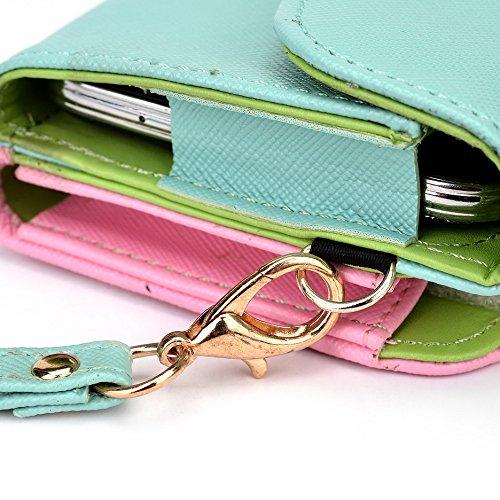 Kroo d'embrayage portefeuille avec dragonne et sangle bandoulière pour Nokia Lumia 930 Noir/gris Green and Pink