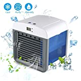 AOLVO [2018 UPGRADE VERSION] Air Evaporator Cooler,Portable Air Conditioner Fan,3-in-1 Cooler Humidifier Purifier for Office Home Desktop with 7 Colors LED