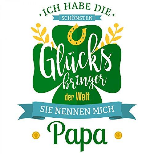 Fashionalarm Herren T-Shirt - Die schönsten Glücksbringer der Welt nennen mich Papa   Fun Shirt mit Spruch als Geburtstag Geschenk Idee für Väter Weiß