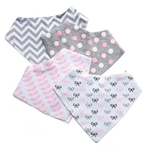 Baby-Lätzchen für Mädchen, 4er Pack Auslaufsichere Babylätzchen, Süße Lätzchen aus Weicher, Saugfähiger Baumwolle und Wasserundurchlässiger Auskleidung, Halten Sie Ihr Baby trocken