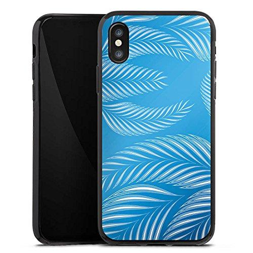 Apple iPhone X Silikon Hülle Case Schutzhülle Palmen Blätter Blau Silikon Case schwarz