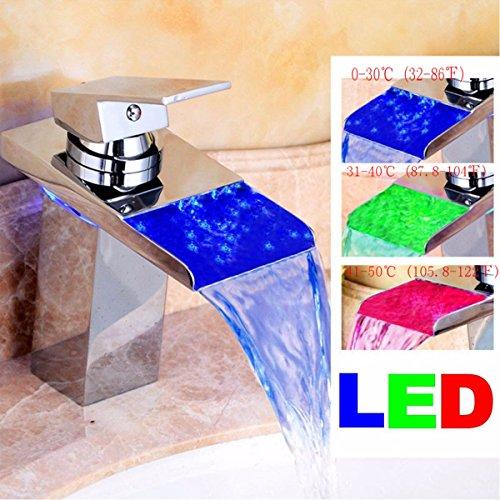 TAPCET Waschtischarmaturen LED RGB Licht Wasserhahn Mixer Tap Glas Wasserfall Armatur für Bad Badenzimmer Waschbecken