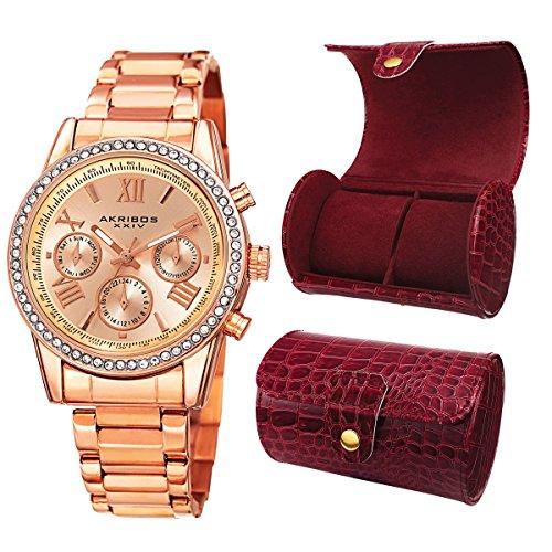 Akribos XXIV Femme Ak872rg rond Plaqué or rose cristal Accent montre + Boîte Cadeau