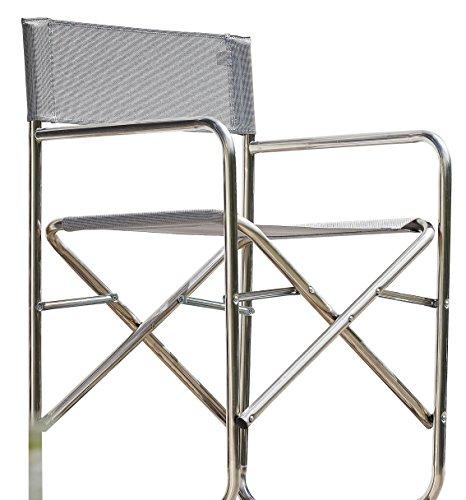 Jan kurtz fiam regie, regiesessel, pliable, chaise de réalisateur, châssis en aluminium, toile textilène imperméable et anti - 495327 pliable gris