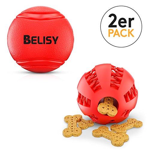 BELISY Intelligente Hundebälle im Set I Dentalball & Spielball I 7cm I Rot
