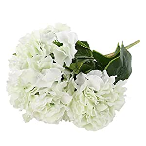 Soledì- 1 Mazzo di 5 Fiori Artificiali Ortensia, Fioritura in Seta, Bouquet Decorazione per Sposina Cerimonia Matrimonio Casa (Crema Bianca)