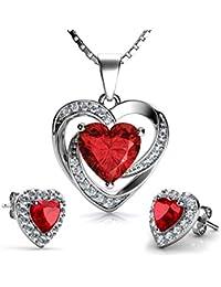 cf5020e75083 DEPHINI - Juego de collar y pendientes de corazón rojo - Plata de ley 925 -