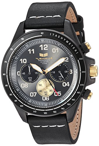 Vestal 'ZR2' Quartz Stainless Steel and Leather Casual Watch, Color:Black (Model: ZR243L27.BKWH)