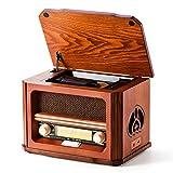 Radio Rétro Shuman Bois 7 en 1 avec FM, Lecteur CD / MP3, Lecture Bluetooth, Lecture USB, Prise Casque, Haut-Parleur Intégré (MC-267)