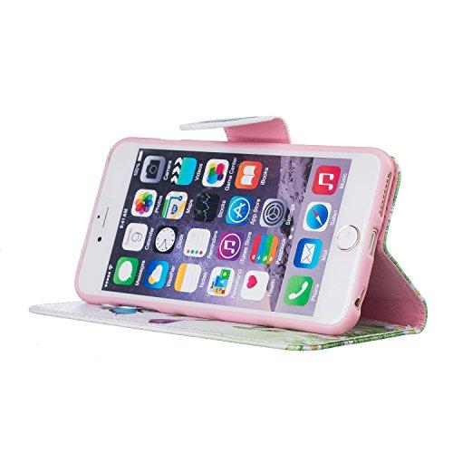 Voguecase® für Apple iPhone 6/6S 4.7 hülle,(Baum/Rosa) Kunstleder Tasche PU Schutzhülle Tasche Leder Brieftasche Hülle Case Cover + Gratis Universal Eingabestift Blau Schmetterling 09