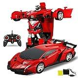 Pinjeer 2 en 1 RC Voiture Sport Voiture Transformation Robots Modèles Télécommande Deformation Voiture RC Combat Jouets 4 Ans Enfants Enfants Cadeau d'anniversaire (Color : Red)