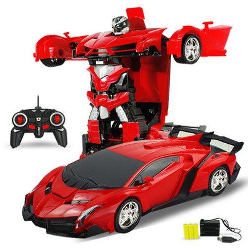Pinjeer 2 en 1 rc Voiture Sport Voiture Transformation Robots Modèles Télécommande Déformation Voiture rc Combats Jouets 4 Ans...