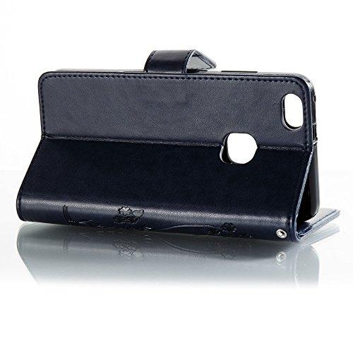 Solid Color Faux Leder Bookstyle Brieftasche Stand Case mit geprägten Blumen & Lanyard & Card Slots für Huawei P10 Lite ( Color : Coffee ) Royal Blue