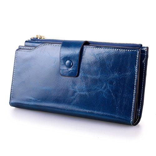 VANCOO Große Kapazität Luxus Wax Frauen-echtes Leder-Geldbörse mit Reißverschluss-Tasche (hochgradigem-Paket) (Peacock Blue) -