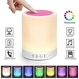 Kimfoxes Haut-parleur Bluetooth avec LED à intensité variable, changement de couleur et commande tactile Idéal comme veilleuse, lampe de lecture, lumière d'ambiance, décoration de table et lampe de bureau