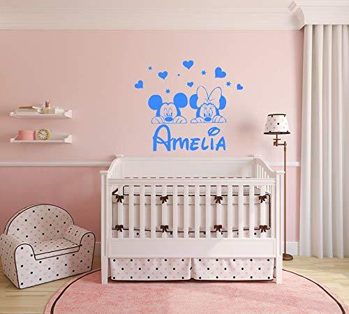 Nombre personalizado etiqueta de la pared Mickey Mouse Minnie Mouse Calcomanías de pared Niña Vinilo Estrella Corazón Cuarto del bebé Niños Guardería Pegatinas Decoración infantil Art º Mural