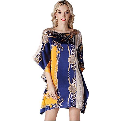 DMMSS Damen Damen Pyjamas Silk Pyjamas Lose Komfort Kleider Bat Shirt Blumen Shirt Kleider Seide Sushi , L , (Kind Sushi Kostüm)