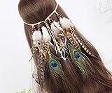 TININNA Damen Stirnbänder Frauen Feder Quasten Gürtel Stirnband Haarband Haarschmuck Kopfschmuck Haar Hippie Boho Federn Mit Holzperle Haarschmuck Haarbänder -