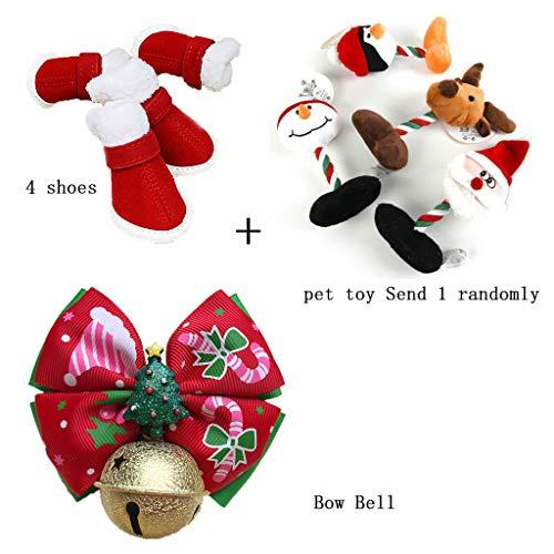 QPZYB Haustier-Weihnachtsbogen-Krawatte + Baumwollschuhe + Plüschtiere Santa Haustier Hund und Hund Winter Plus Samt Dicke Schuhe Training Plüschtiere - Plus Training Schuh
