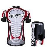 d.Stil Herren Radtrikot Set Kurzarm mit Sitzpolster für MTB Rennrad Fahrrad Jersey + Rad Shorts Radsportanzug M - XXL (Schwarz-Weiß-Rot, XL)