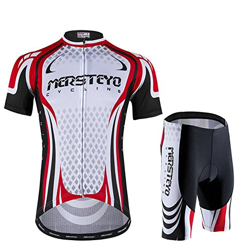 d.Stil Herren Radtrikot Set Kurzarm mit Sitzpolster für MTB Rennrad Fahrrad Jersey + Rad Shorts Radsportanzug M - XXL (Schwarz-Weiß-Rot, L)
