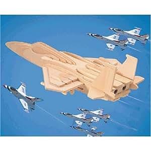 Maquette - F15 Avion de combat - 35 pièces - Bois - Puzzled