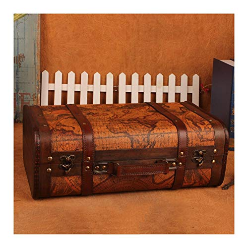 YOSPOSS Retro Valigia Storage kz1882-w953 Style Old World Map Suitcase Atlas Design a Forma di Tronco di Legno Wedding Post Box