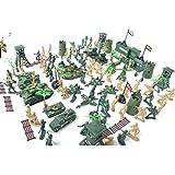 122pcs Juguetes Juegos Ejército Combate Soldado Establece 6cm Lugar Militar Desierto
