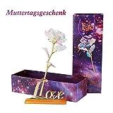 Liebem Bunte Galaxy Rose mit Love,einzigartige romantische Geschenk für Valentinstag, Jubiläum, Muttertag, Geburtstagsgeschenk
