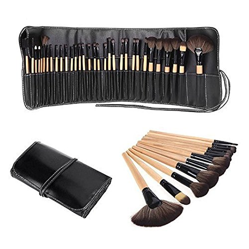 Allin Exporters Cosmetic Brush Set (32 Pieces) with Black Leather Pouch for Eye Shadow Blush Concealer