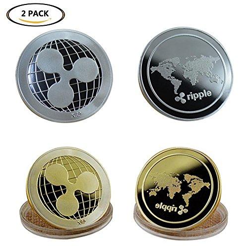 Koreyoo Sammelmünzen Ripple Münze Ethereum Coin Gold Silber Legierung Sammlerstück XRP / LTC / ETH Münzen Kunst Sammlung Geschenk 2 Stück(H01) (Dollar Münze Werte)