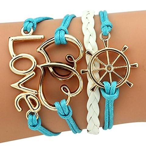 temps Usurier Mode personnalité gouvernail 2Cœur âme soeur Amour réglable Charm tressé Bracelet