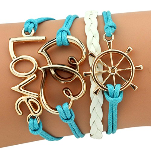 temps-usurier-mode-personnalite-gouvernail-2-coeur-ame-soeur-amour-reglable-charm-tresse-bracelet