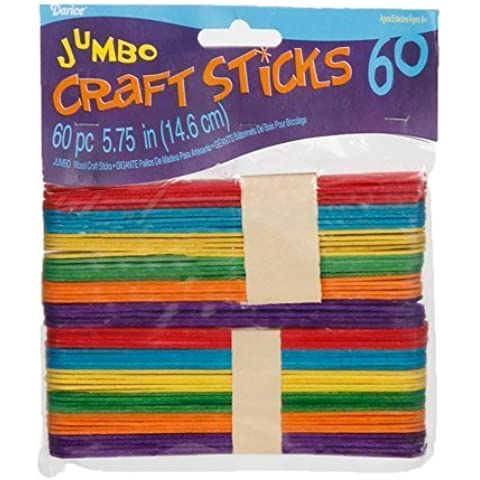 Bulk Buy: Darice DIY Crafts Wood Craft Sticks Colored Jumbo 5-3/4 iniches 60 pieces (6-Pack) 9150-86 by Darice Bulk Buy