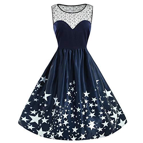 Sasstaids Weihnachten Kleid, Frauen Elegantes Kleid Swing-Kleid Lässige Ärmellose Spitze Brautjunferkleider Patchwork Stern Print Vintage Kleid Partykleid -