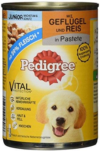 Pedigree Hundefutter Nassfutter Junior Geflügel und Reis in Pastete, 12 Dosen (12 x 400g)