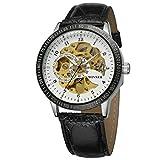 Winner Reloj para Hombre, Reloj Deportivo, dial de Esqueleto, mecánico automático, 3 Puntos, Correa de Cuero Genuino,White