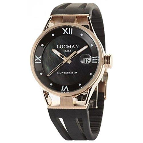 Montre Locman Montecristo 0521V14rrmk00sk au quartz (Batterie) acier Quandrante Noir Bracelet Silicone