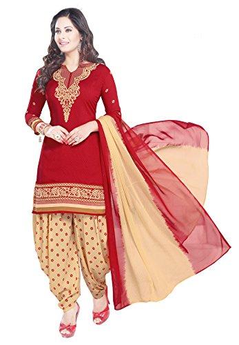 Salwar Studio Women's Cotton Dress Material (OM-0014362_Free Size_Red & Beige)