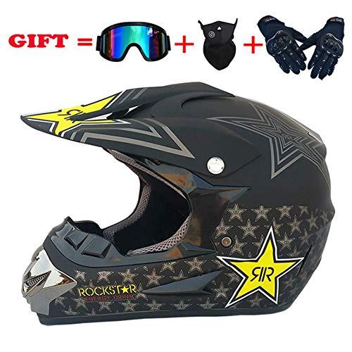Moto Da Donna Full Face Casco,lightweight Casco Bici 3pc Set Dirt Bike Casco-casco Guanti Occhiali Maschera - S