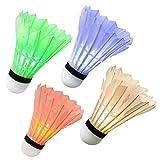 Ohuhu® LED Volano Luminoso per Badminton Illuminazione Notte Oscuro Uccellini Fluorescenti per Attività Sportive Interno & Esterno, 4-pezzi