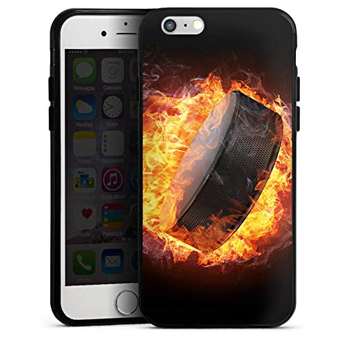 DeinDesign Silikon Hülle kompatibel mit Apple iPhone 6s Case Schutzhülle Eishockey Flammen Slapshot