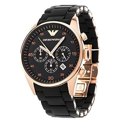 Men's Emporio Armani AR5905 Black Silicon Stainless Steel Quartz Watch