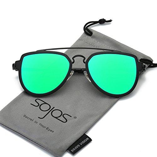 SOJOS Retro Doppelte Metallbrücken Polarized Linse Sonnenbrille für Herren Damen SJ1051 mit Schwarz Rahmen/Grün Verspiegelt Linse